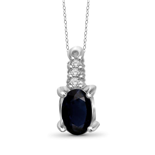Diamond Accent Blue Sapphire Oval Sterling Silver Pendant