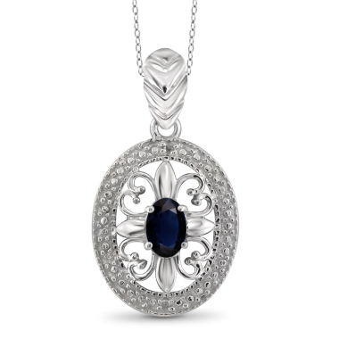 jcpenney.com | Diamond Accent Blue Sapphire Oval Sterling Silver Pendant