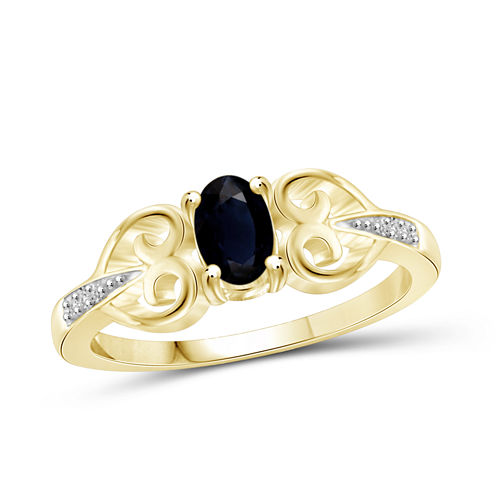 Womens Diamond Accent Blue Sapphire Gold Over Silver Engagement Ring