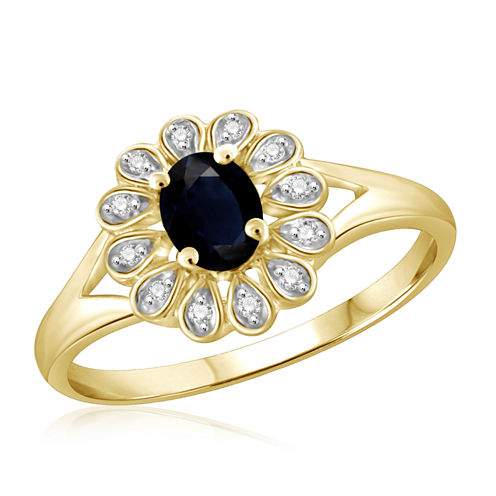 Womens Diamond Accent Blue Sapphire Gold Over Silver Cocktail Ring