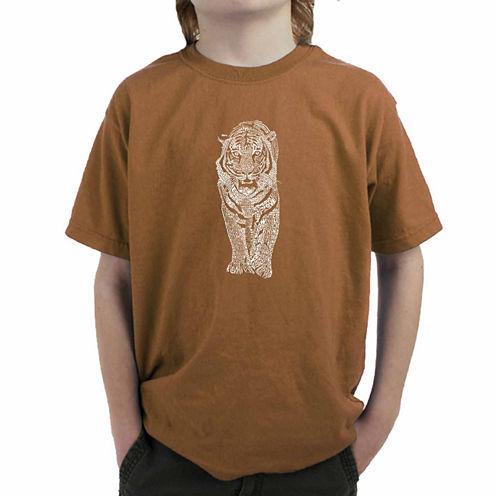 Los Angeles Pop Art A List Of Popular Endangered Species Graphic T-Shirt-Big Kid Boys