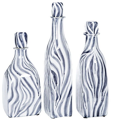 """Knox And Harrison 12"""" Striped Decorative Bottles"""