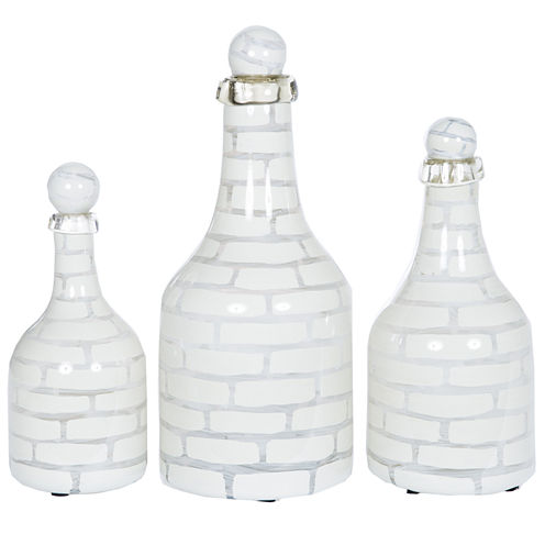 Knox And Harrison Striped Opaque Decorative Bottles