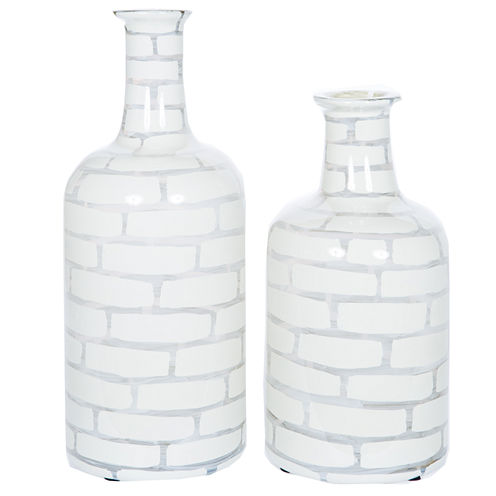 "Knox And Harrison 18"" Striped Opaque Decorative Bottles"