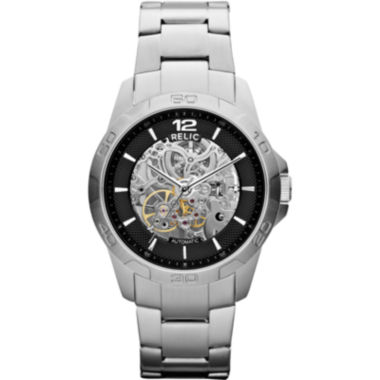 jcpenney.com | Relic® Mens Silver-Tone Automatic Skeleton Watch ZR12013
