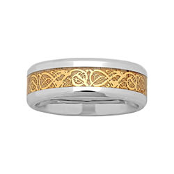 BEST VALUE! Mens Two-Tone Celtic Dragon Wedding Band