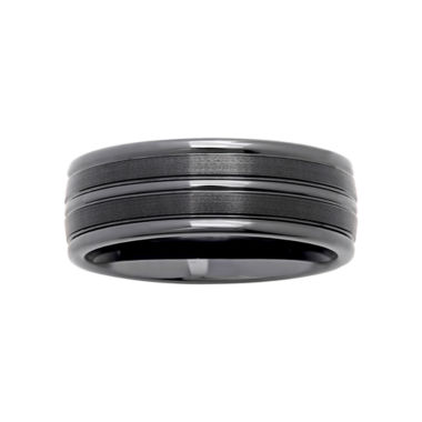 jcpenney.com |  Mens Striped Black Ceramic 8mm Comfort Fit Wedding Band