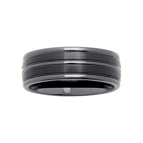 Mens Striped Black Ceramic 8mm Comfort Fit Wedding Band