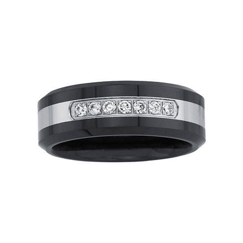 1/7 CT. T.W. Men's Diamond Two-Tone Wedding Band