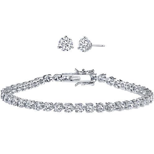 DiamonArt® Cubic Zirconia Earring and Bracelet Set