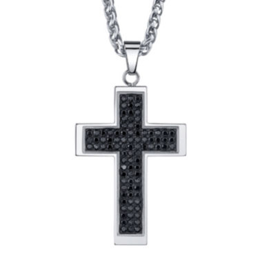 jcpenney.com | Mens Stainless Steel & Black Cubic Zirconia Cross Pendant Necklace