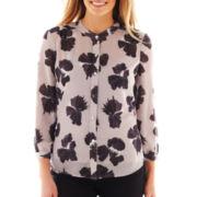 Liz Claiborne 3/4-Sleeve Floral Print Blouse - Tall