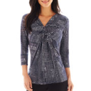 Liz Claiborne 3/4-Sleeve Twist Print Top