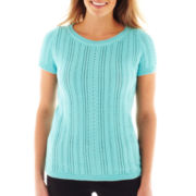 Liz Claiborne Short-Sleeve Cable Knit Sweater