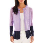 Liz Claiborne Long-Sleeve Colorblock Cardigan Sweater - Tall
