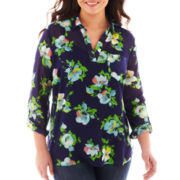 Liz Claiborne Roll-Tab Popover Top with Cami - Plus