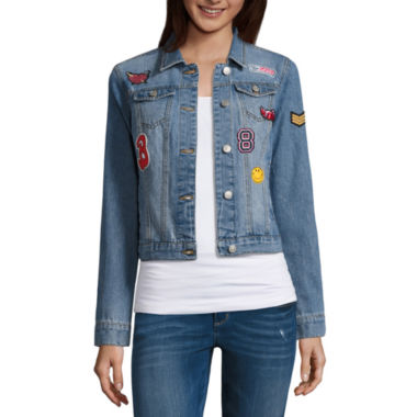 jcpenney.com | Almost Famous Patched Denim Jacket-Juniors