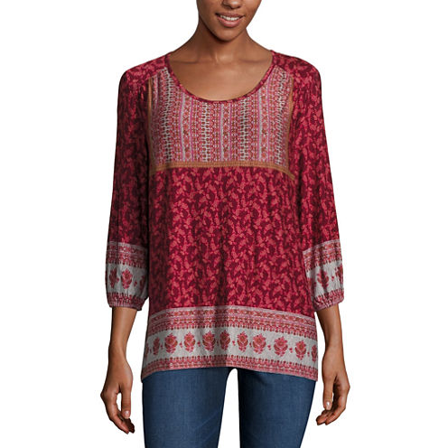 One World Apparel 3/4 Sleeve Scoop Neck Knit Blouse