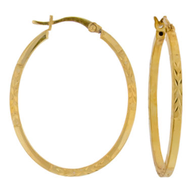 jcpenney.com | Oval Diamond-Cut Hoop Earrings 14K Gold Over Sterling Silver