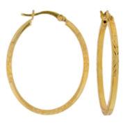 Oval Diamond-Cut Hoop Earrings 14K Gold Over Sterling Silver