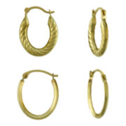 2-Pr. Oval Hoop Earrings Set 14K Gold