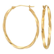 14K Gold Square-Twist Hoop Earrings 28mm