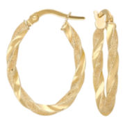 10K Gold Twisted Oval Hoop Earrings