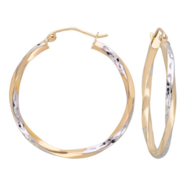 jcpenney.com | 10K Gold Two-Tone Narrow Twisted Hoop Earrings