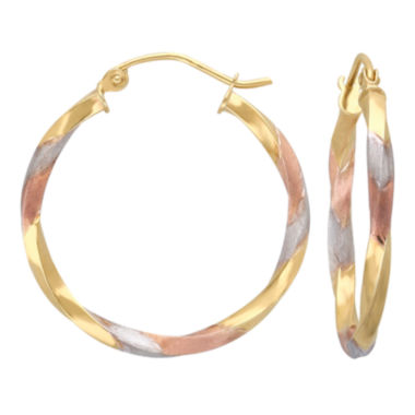 jcpenney.com | Twisted Tri-Tone Hoop Earrings 14K Gold