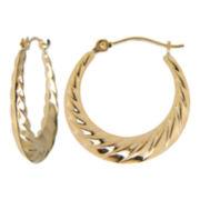 Chunky Swirl Hoop Earrings 10K Yellow Gold