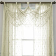 jcp home™ Lisette Embroidered Rod-Pocket Sheer Waterfall Valance