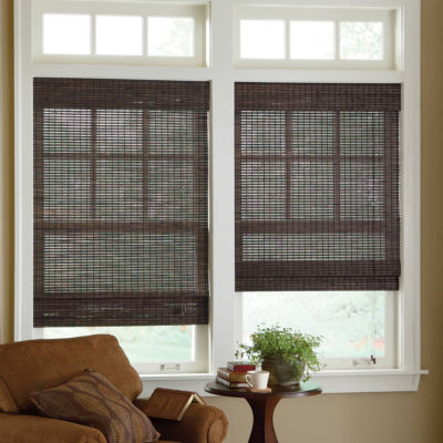 jcpenney home custom bamboo woven wood roman shade. Black Bedroom Furniture Sets. Home Design Ideas