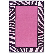 Tween Zebra Bordered Washable Rectangular Rugs
