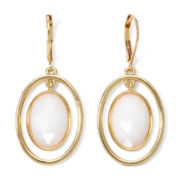 Monet® White Stone Gold-Tone Orbital Earrings