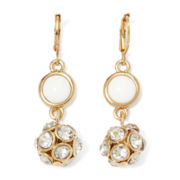Monet® Gold-Tone White and Crystal Fireball Drop Earrings