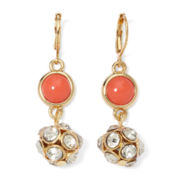 Monet® Gold-Tone Orange and Crystal Fireball Drop Earrings