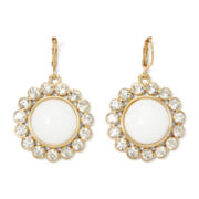 Monet® Gold-Tone Crystal and White Starburst Drop Earrings