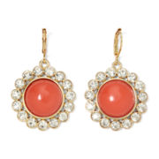 Monet® Gold-Tone Orange and Crystal Drama Earrings