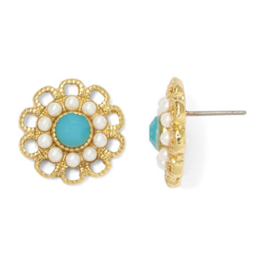 jcpenney.com | Monet® Simulated Pearl and Aqua Stone Button Earrings