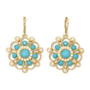 Monet® Simulated Pearl and Aqua Stone Drop Earrings