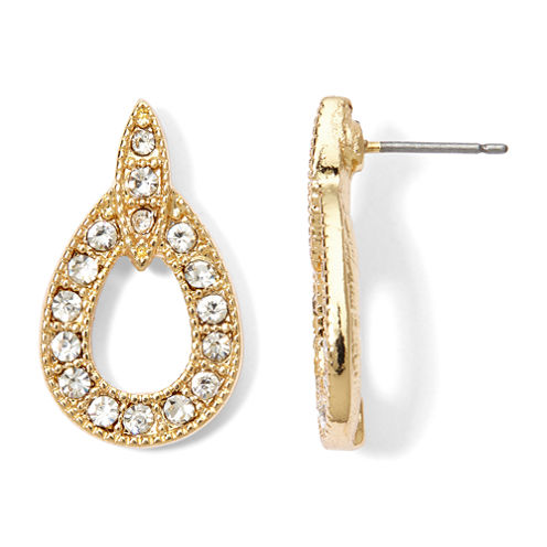 Monet® Crystal and Gold-Tone Doorknocker Earrings