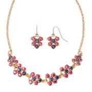 Monet® Gold-Tone Pink Flower Necklace and Earring Set