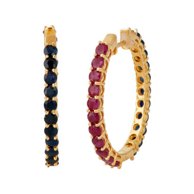jcpenney.com | LIMITED QUANTITIES  Lead Glass-Filled Ruby and Genuine Blue Sapphire Hoop Earrings