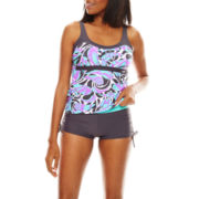 Zeroxposur® Swirl Peasant Tankini Swim Top, Swim Bottoms or Swim Cover-Up