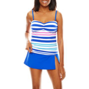 Liz Claiborne® Aquatic Life Striped Over-the-Shoulder Bandeaukini Swim Top or Liz Claiborne® Solid Skirted Swim Bottoms