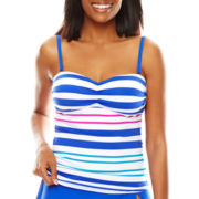 Liz Claiborne® Aquatic Life Striped Over-the-Shoulder Bandeaukini Swim Top