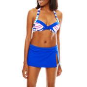 Liz Claiborne® Aquatic Life Striped Underwire Halter Swim Top or Solid Skirted Swim Bottoms