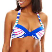 Liz Claiborne® Aquatic Life Striped Underwire Halter Swim Top