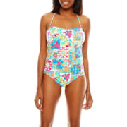 Liz Claiborne® Tunesia Tiles Bandeau Maillot One-Piece Swimsuit