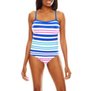 Liz Claiborne® Aquatic Life Striped Bandeau Maillot One-Piece Swimsuit - Misses